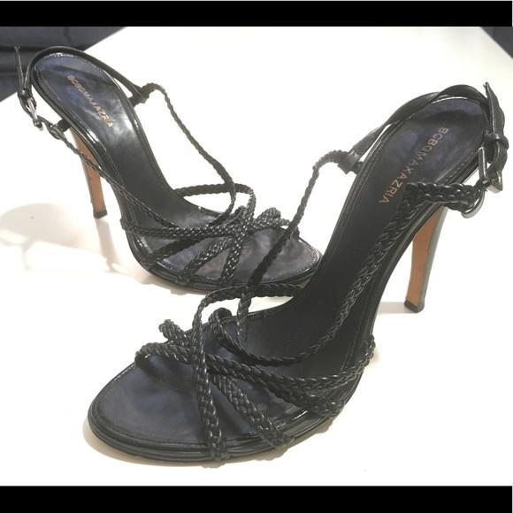 b3cb3d122ca BCBG MaxAzria Black Leather Braided Heels Sandals